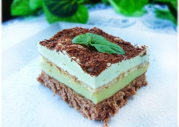 Miętusek - czekoladowe ciasto z miętowo - budyniowym kremem