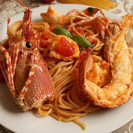 Spaghetti z homarem kolczastym ( langustą)